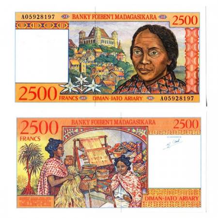 """ND (1998) * Banconota Madagascar 2500 Francs = 500 Ariary """"Queen's Palace"""" (p81) FDS"""