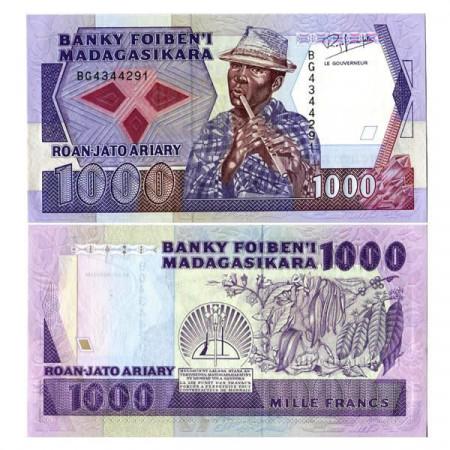 "ND (1988-93) * Banconota Madagascar 1000 Francs = 200 Ariary ""Rakoto Frah"" (p72b) qFDS"
