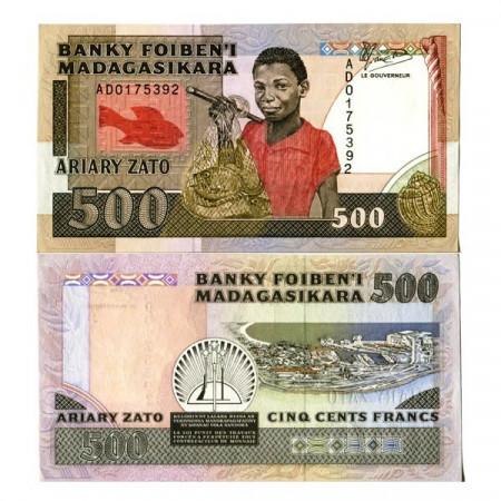 "ND (1988-93) * Banconota Madagascar 500 Francs = 100 Ariary ""Fisherman"" (p71a) qFDS"