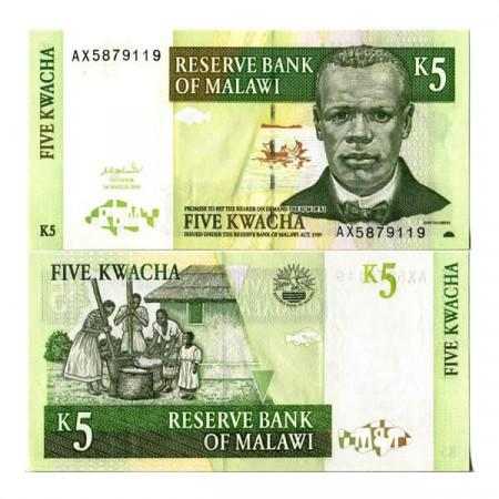 """2004 * Banconota Malawi 5 Kwacha """"J Chilembwe"""" (p36b) FDS"""