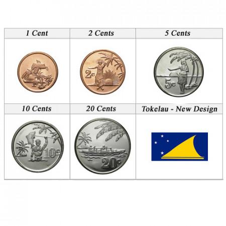 "Anni Misti * Serie 5 Monete Tokelau ""Cents - New Design"" UNC"