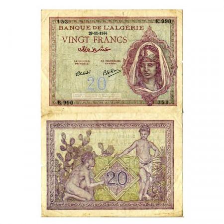 """1944 * Banconota Algeria 20 Francs """"Woman"""" (p92b) BB"""