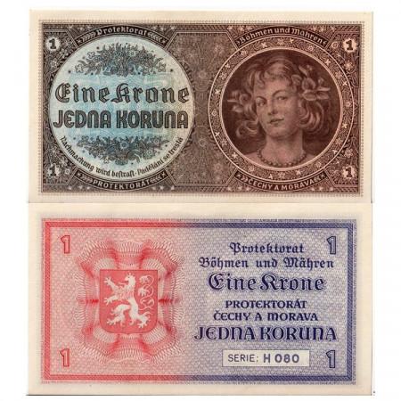 "ND (1940) * Banconota Boemia e Moravia 1 Koruna ""Young Girl"" (p3a) SPL+"