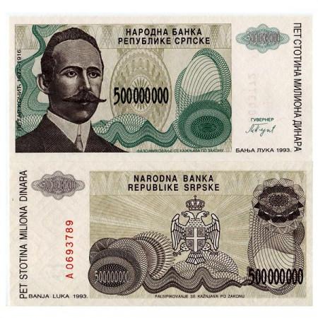 """1993 * Banconota Bosnia-Erzegovina 500 Milioni - 500.000.000 Dinara """"P Kocic"""" (p155a) FDS"""