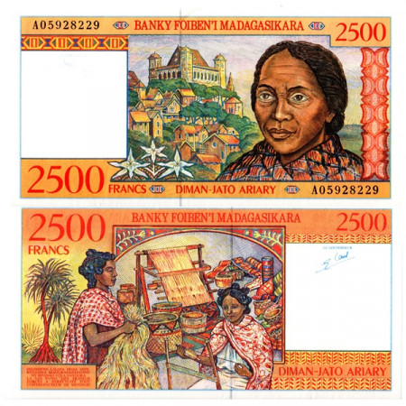 "ND (1998) * Banconota Madagascar 2500 Francs = 500 Ariary ""Queen's Palace"" (p81) SPL+"