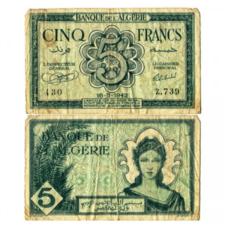 """1942 * Banconota Algeria 5 Francs """"Occupazione Alleata"""" (p91) B+"""