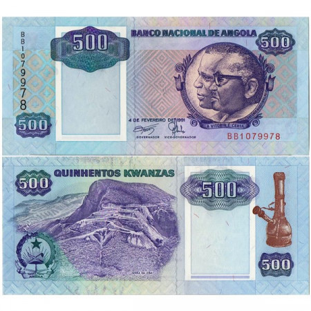 """1991 * Banconota Angola 500 Kwanzas """"JE dos Santos - A Neto"""" (p128b) FDS"""