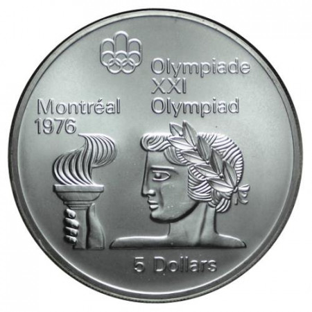 "1974 * 5 Dollari Argento Canada ""Montreal '76 - Athena con Torcia"" (KM 90) FDC"