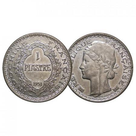 1931 (a) * 1 Piastre Argento Indocina Francese - French Indochina (KM 19) qSPL