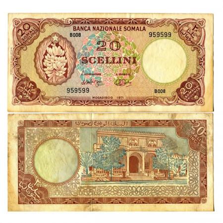 "1971 * Banconota Somalia 20 Scellini=20 Shillings ""Bananas"" (p15a) qSPL"