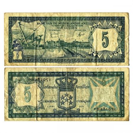 "1972 * Banconota Antille Olandesi 5 Gulden ""Willemstad Curaçao"" (p8a) MB"