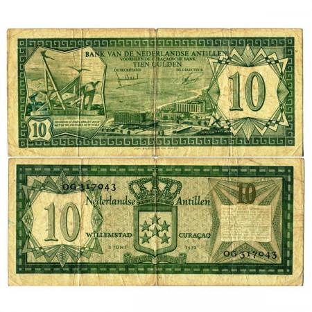"1972 * Banconota Antille Olandesi 10 Gulden ""Oranjestad Aruba"" (p9b) MB"