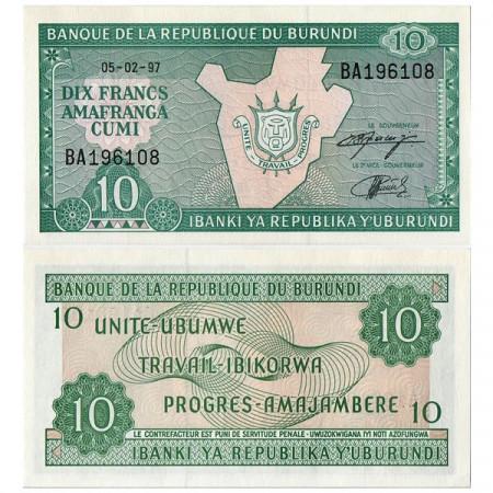 "1997-2003 * Banconota Burundi 10 Francs ""Map"" (p33d) FDS"