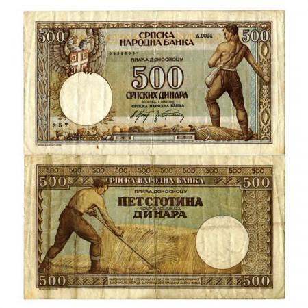 """1942 * Banconota Serbia 500 Dinara """"Occupazione Tedesca"""" (p31) BB"""