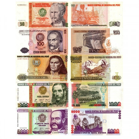 "1985-91 * Set 5 Banconote Perù 50, 100, 500, 1000, 5000 Intis ""Inti System"" (p131 -> 137) FDS"