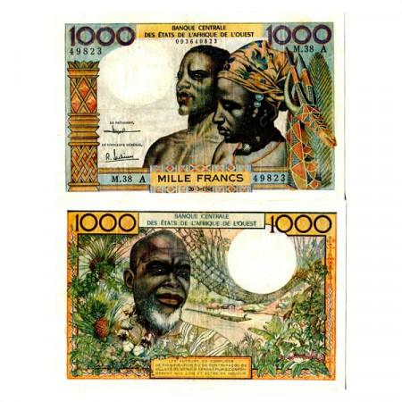 "1961 A * Banconota Stati Africa Occidentale ""Costa d'Avorio"" 1000 Francs ""Couple"" (p103Ac) BB"
