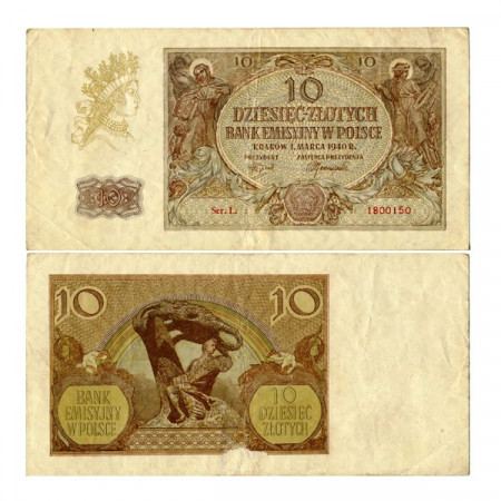"""1940 * Banconota Polonia 10 Zlotych """"Occupazione Tedesca"""" (p94) BB+"""
