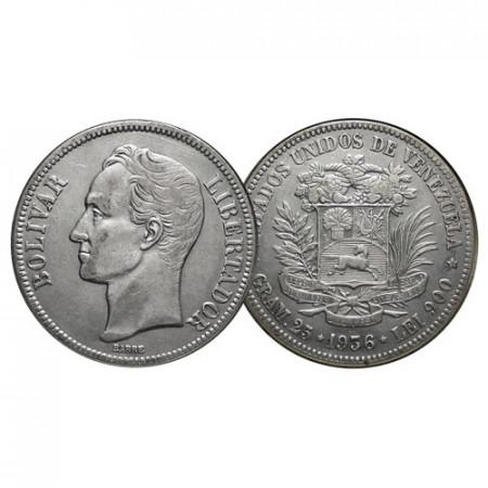 """1936 (p) * Gram 25 (5 Bolivares) Argento Venezuela """"Simón Bolívar"""" (Y 24.2) BB+"""