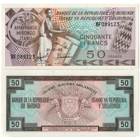 """1988-93 * Banconota Burundi 50 Francs """"Drummer"""" (p28c) FDS"""