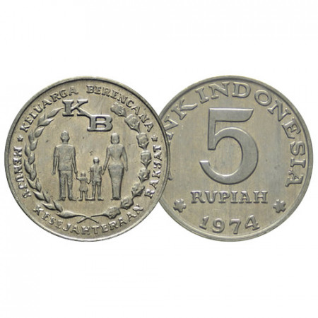 "1974 * 5 Rupiah Indonesia ""FAO - Family Planning Program"" (KM 37) BB+"