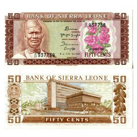 """1984 * Banconota Sierra Leone 50 Cents """"President Siaka Stevens"""" (p4e) FDS"""