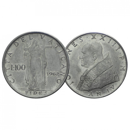 """1962 IV * 100 Lire Vaticano """"Giovanni XXIII - Fides"""" (KM 64.2) BB+"""