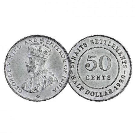 "1920 * Half 1/2 Dollar (50 Cents) Argento Malesia - Straits Settlements ""Giorgio V"" (KM 35.1) FDC"