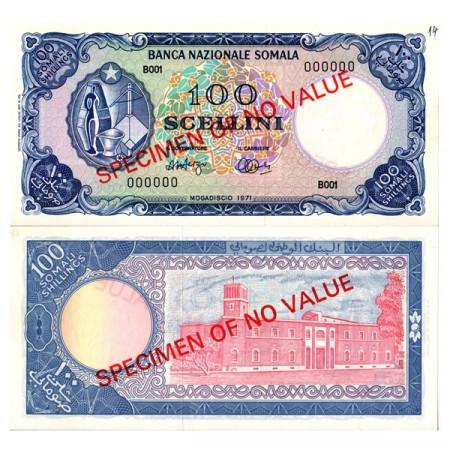 "1971 * Banconota Somalia 100 Scellini =100 Shillings ""National Assembly - Specimen"" (p16s) qFDS"