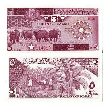 "1983 * Banconota Somalia 5 Shilin =5 Shillings ""Buffalos"" (p31a) FDS"