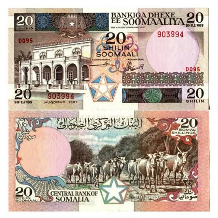 "1987 * Banconota Somalia 20 Shilin =20 Shillings ""Bankiga Dhexe"" (p33c) FDS"