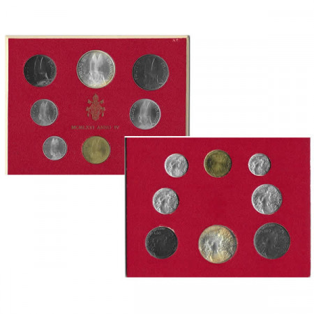 """1966 IV * Divisionale Vaticano 8 Monete """"Paolo VI - Anno IV"""" (G 279) FDC"""
