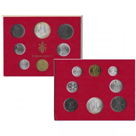 """1967 V * Divisionale Vaticano 8 Monete """"Paolo VI - Anno V"""" (G 280) FDC"""