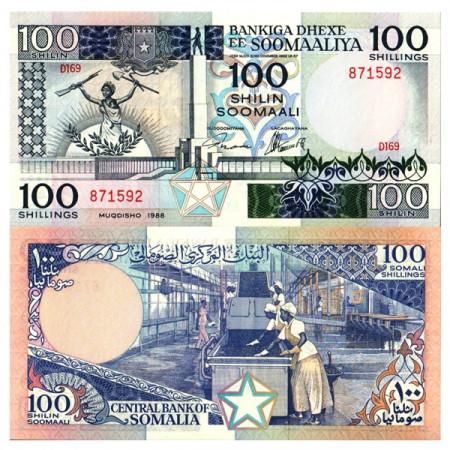 "1988 * Banconota Somalia 100 Shilin =100 Shillings ""Muuqaalka Dhagaxtuur"" (p35c) FDS"