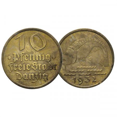 """1932 * 10 Pfennig Città Libera di Danzica (Germania) """"Codfish"""" (KM 152) SPL"""