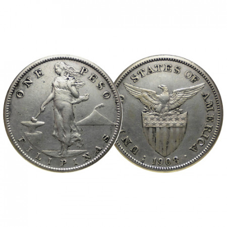 """1908 S * 1 Peso Argento Filippine """"Amministrazione Americana"""" (KM 172) BB/SPL"""
