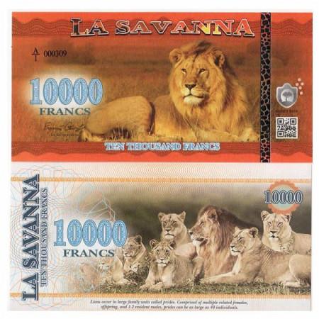"2016 * Banconota Polimera La Savanna 10.000 Francs ""African Lion"" FDS"