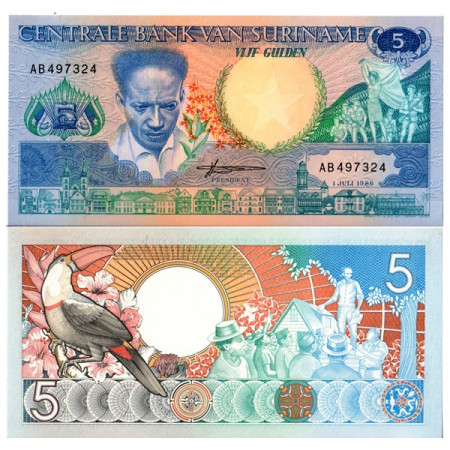 "1986 * Banconota Suriname 5 Gulden ""Anton de Kom"" (p130a) FDS"