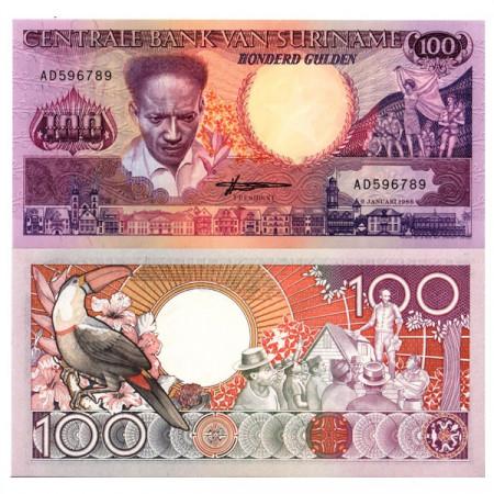 """1988 * Banconota Suriname 100 Gulden """"Anton de Kom"""" (p133b) FDS"""