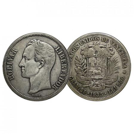 """1935 (p) * Gram 25 (5 Bolivares) Argento Venezuela """"Simón Bolívar"""" (Y 24.2) BB"""