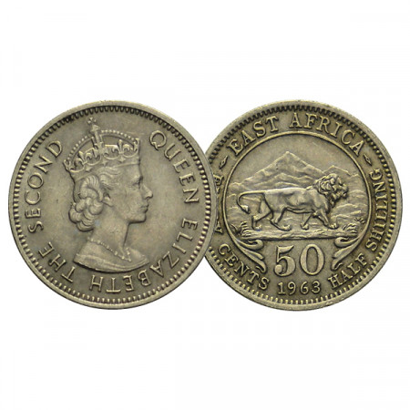 "1963 * 50 Cents - 1/2 Shilling Africa Orientale Britannica - British East Africa ""Elisabetta II"" (KM 36) SPL+"