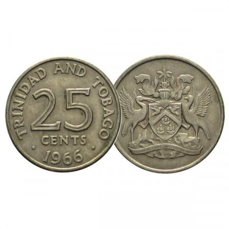 """AV (1966-72) * 25 Cents Trinidad e Tobago """"Coat of Arms"""" (KM 4) BB-CIRC"""