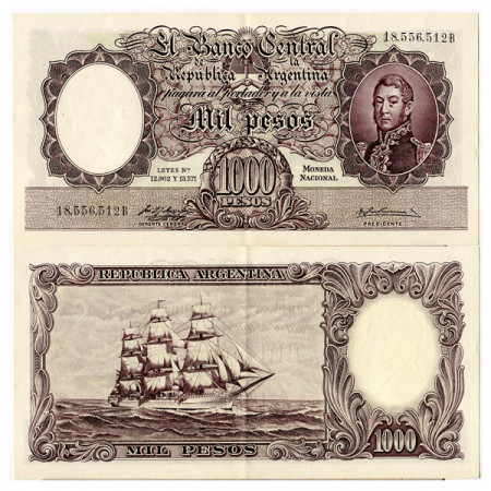 "ND (1954-57) * Banconota Argentina 1000 Pesos ""J de San Martin"" (p274a) SPL"