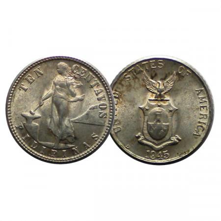 """1945 D * 10 Centavos Argento Filippine """"Amministrazione Americana"""" (KM 181) FDC"""