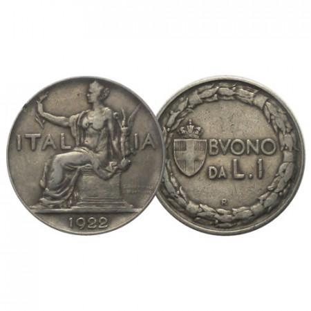 "1922 * Buono da 1 Lira Italia ""Vittorio Emanuele III - Italia Seduta"" (G 106 - KM 62) MB"