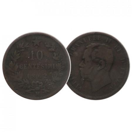 """1862 M * 10 Centesimi Italia Regno """"Vittorio Emanuele II - Valore"""" (KM 11.1 G 88) MB+"""