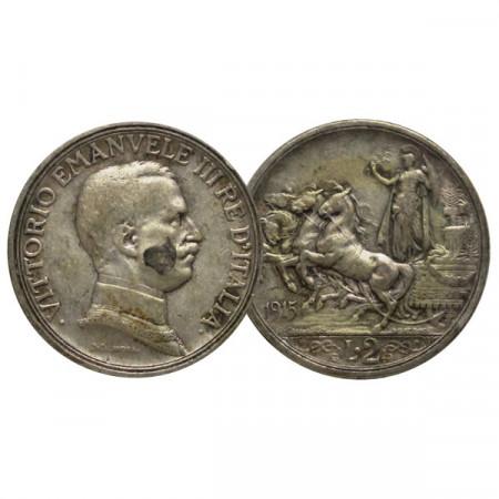 """1915 * 2 Lire Argento Italia """"Vittorio Emanuele III - Quadriga Briosa"""" (KM 55 G 102) BB"""