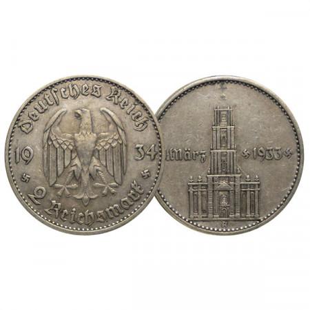 "1934 A * 2 Reichsmark Argento GERMANIA ""Terzo Reich - 1st Nazi Rule"" (KM 81) BB"