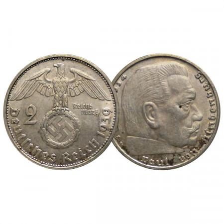 """1939 G * 2 Reichsmark Argento GERMANIA """"Terzo Reich - Hindenburg"""" (KM 93) BB+"""