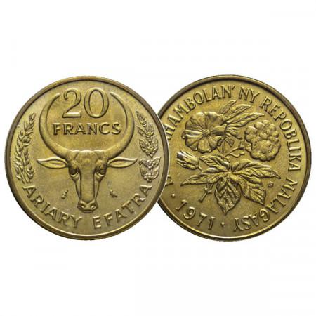 """1971 * 20 Francs / 4 Ariary Madagascar """"Serie F.A.O."""" (KM 12) UNC"""