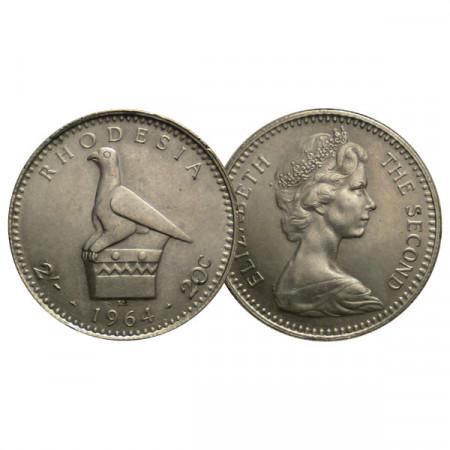 """1964 * 2 Shillings /20 Cents Rhodesia """"Elizabeth II - Zimbabwe Bird"""" (KM 3) UNC"""
